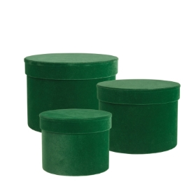 Velvet Symphony Hat Box Set of 3 (Green)   DAMAGED