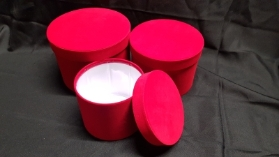 Velvet Symphony Hat Box Set of 3 (Red)